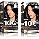Garnier - 100% Ultra Brun - Coloration Permanente Noir - Le Noir Intense 1.0 Lot de 2