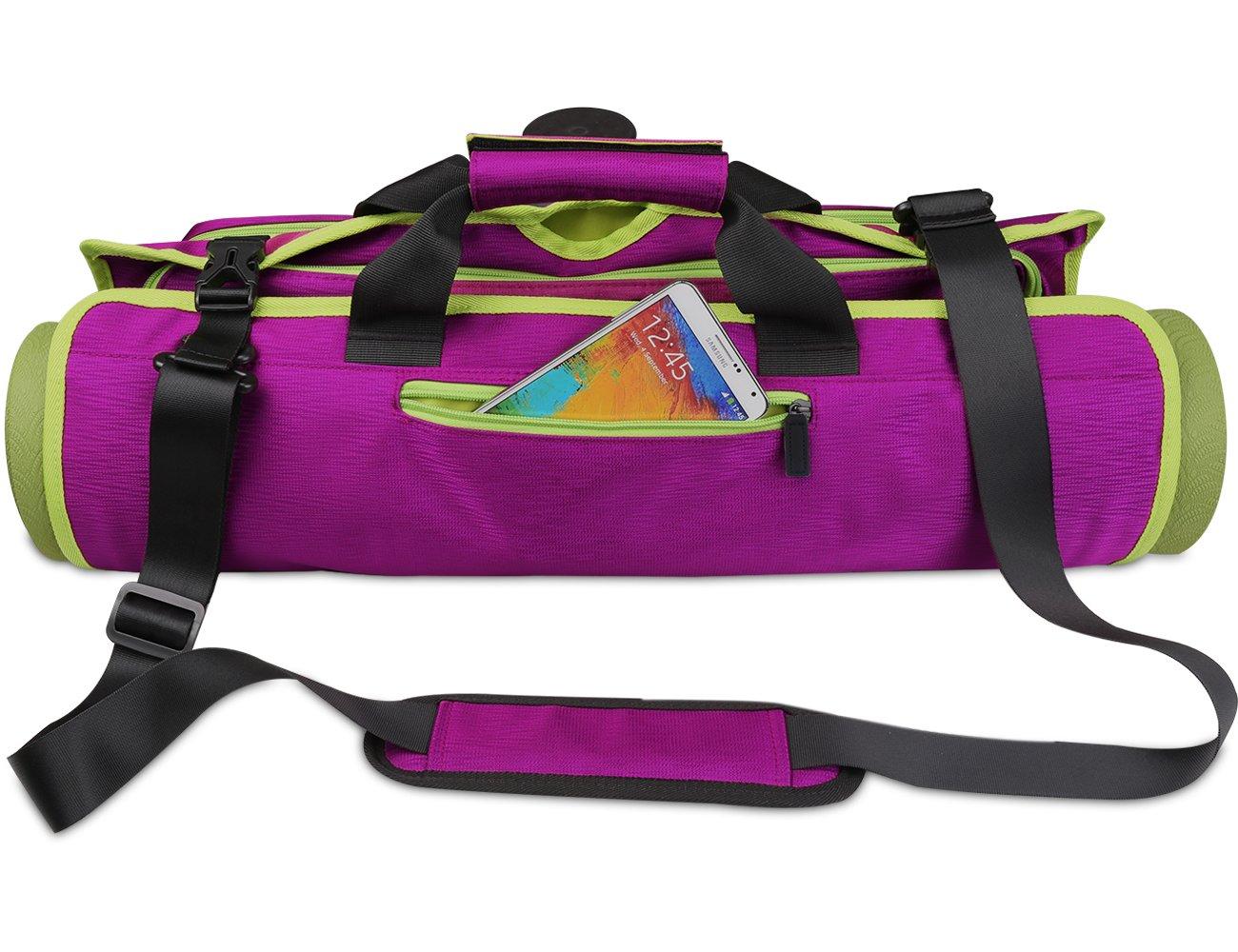 Arvinヨガバッグ、ヨガマット&ヨガブロックナイロンバッグポケット&ファスナー付き折りたたみ式多機能防水ヨガCarry Shoulder Bags Fits Mostマットサイズ、調節可能なストラップポータブルバッグ  パープル B076P8FCP4
