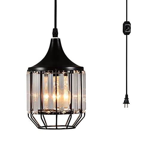 Creatgeek Plug-in Crystal Pendant Light with 16.4 Ft Cord and In-Line On Off Dimmer Switch for Kitchen Island, Dining Room, Black Antique Metal Finish