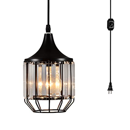Creatgeek Plug In Crystal Pendant Light With 164ft Cord And In