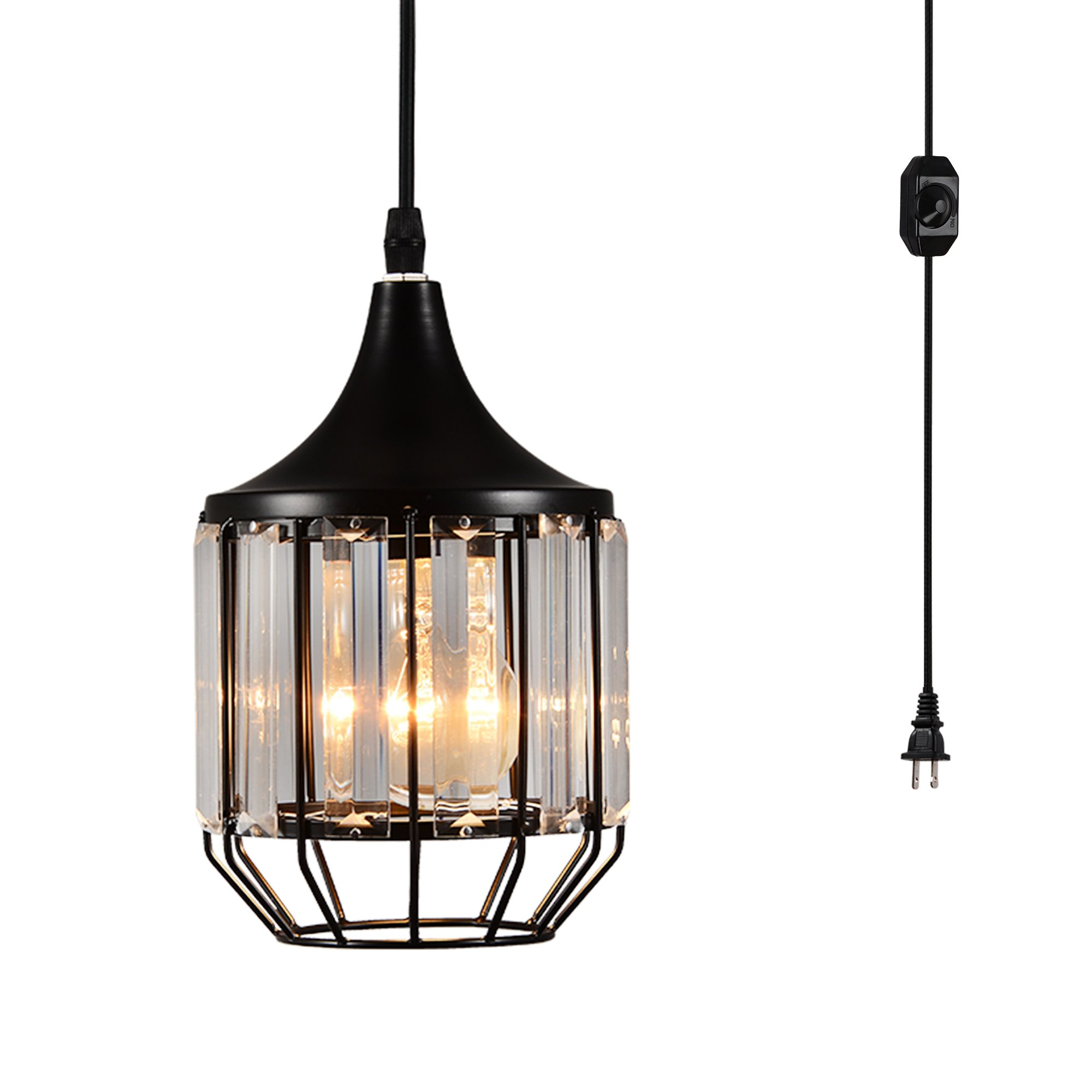 Creatgeek Plug-in Crystal Pendant Light with 15 Ft Cord and In-Line On/Off Dimmer Switch for Kitchen Island, Dining Room, Black Antique Metal Finish