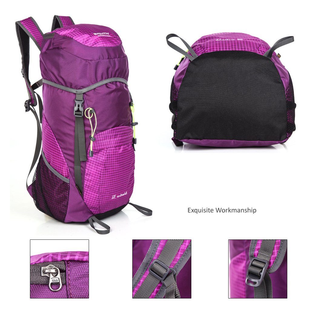 35L Water Resistant Backpack Lightweight Foldable Handy Travel Bag Packable Hiking Daypack for Outdoor Sports (Hot Pink)