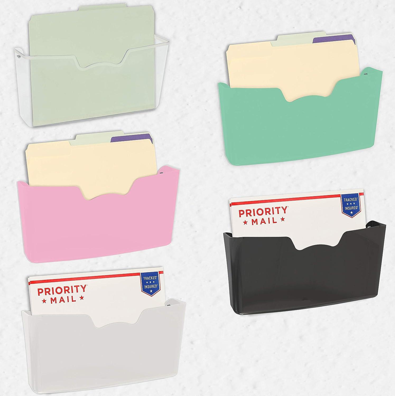 5 Pack - Simple Houseware Single Pocket Wall Mount File Holder, Assorted Color