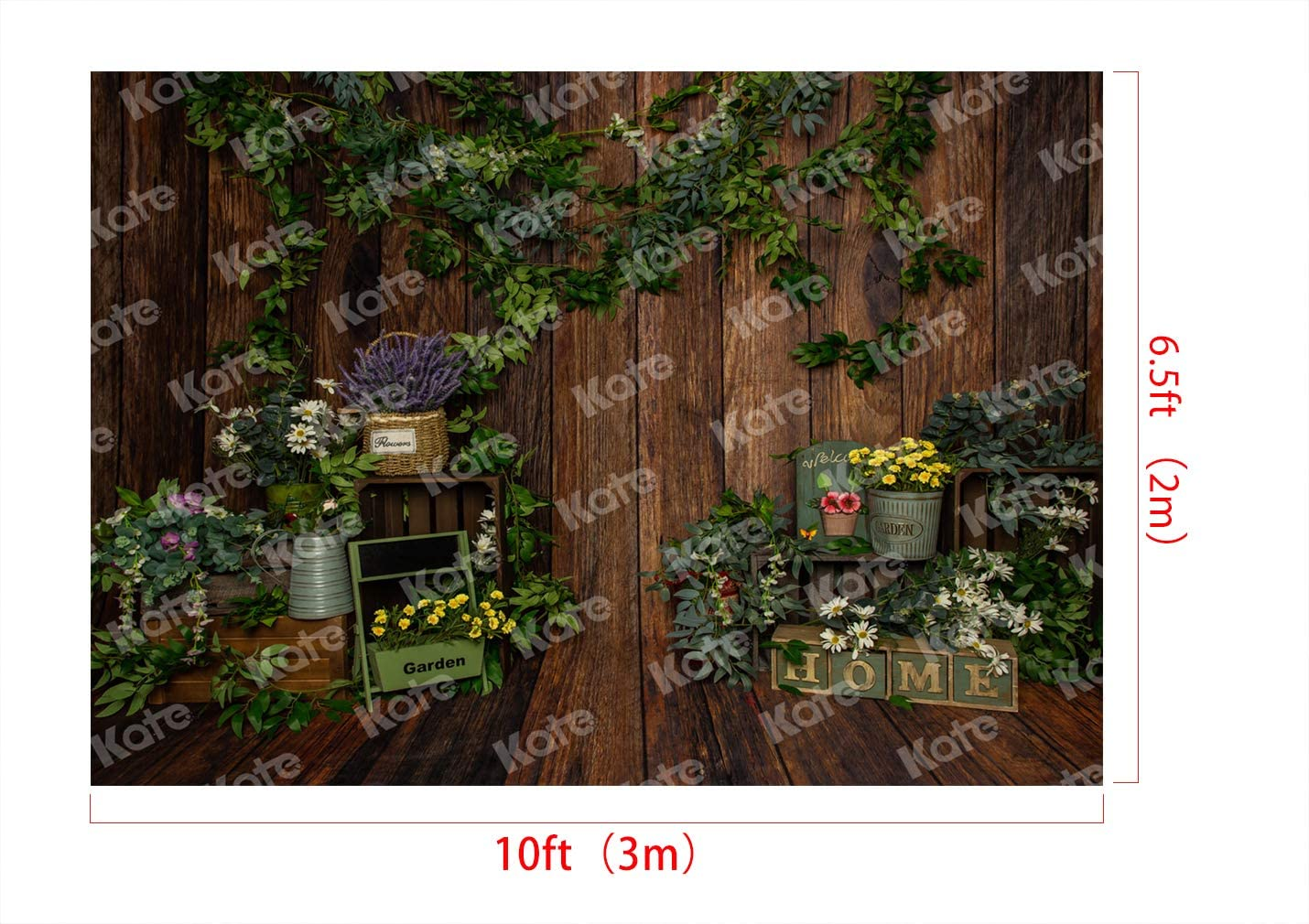 Kate 10x6.5ft Personal Photo Props Microfiber Dark Brown Wooden Board Background Spring Green Photography Backdrop
