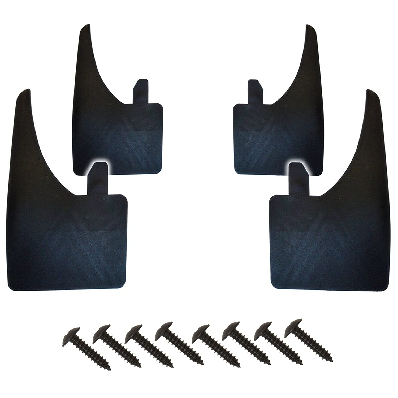 4 X Universal Front & Rear Quality Black WIDE Mudflaps & Screws ASC