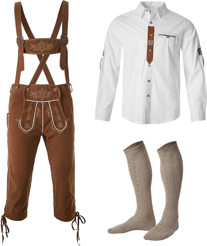 dressforfun 950001 Conjunto Tres Piezas para Hombre, Pantalón Marrón con Tirantes, Camisa Blanca, Traje Bávaro (Pantalón L | Camisa L | No. 350019)