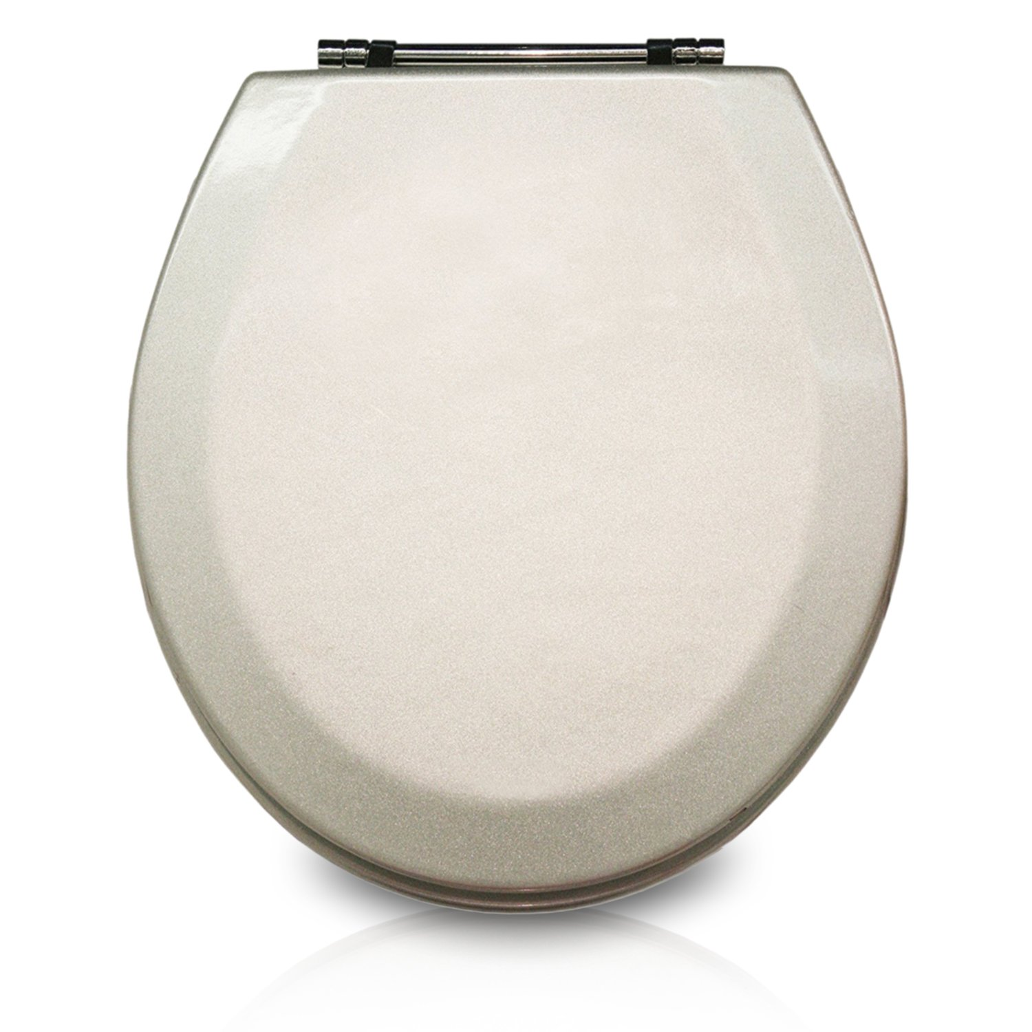 Trimmer Premium Molded Wood Toilet Seats With Multi-Coat Surface Finish - Water and Stain-resistant Finish with Chrome Hinges, Silver by Trimmer