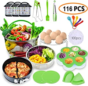 MC-Elec Pressure Cookers Accessories Set,116 Pcs Instant Pot Accessories Compatible with 5/6/8Qt - Cake Baking Papers,2 Steamer Baskets,Non-stick Springform Pan,Egg Rack,Egg Bites Mold,Kitchen