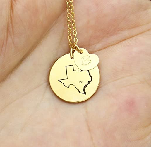 Amazon state necklace personalized small state shaped with state necklace personalized small state shaped with initial heart on disc charm necklace texas aloadofball Image collections