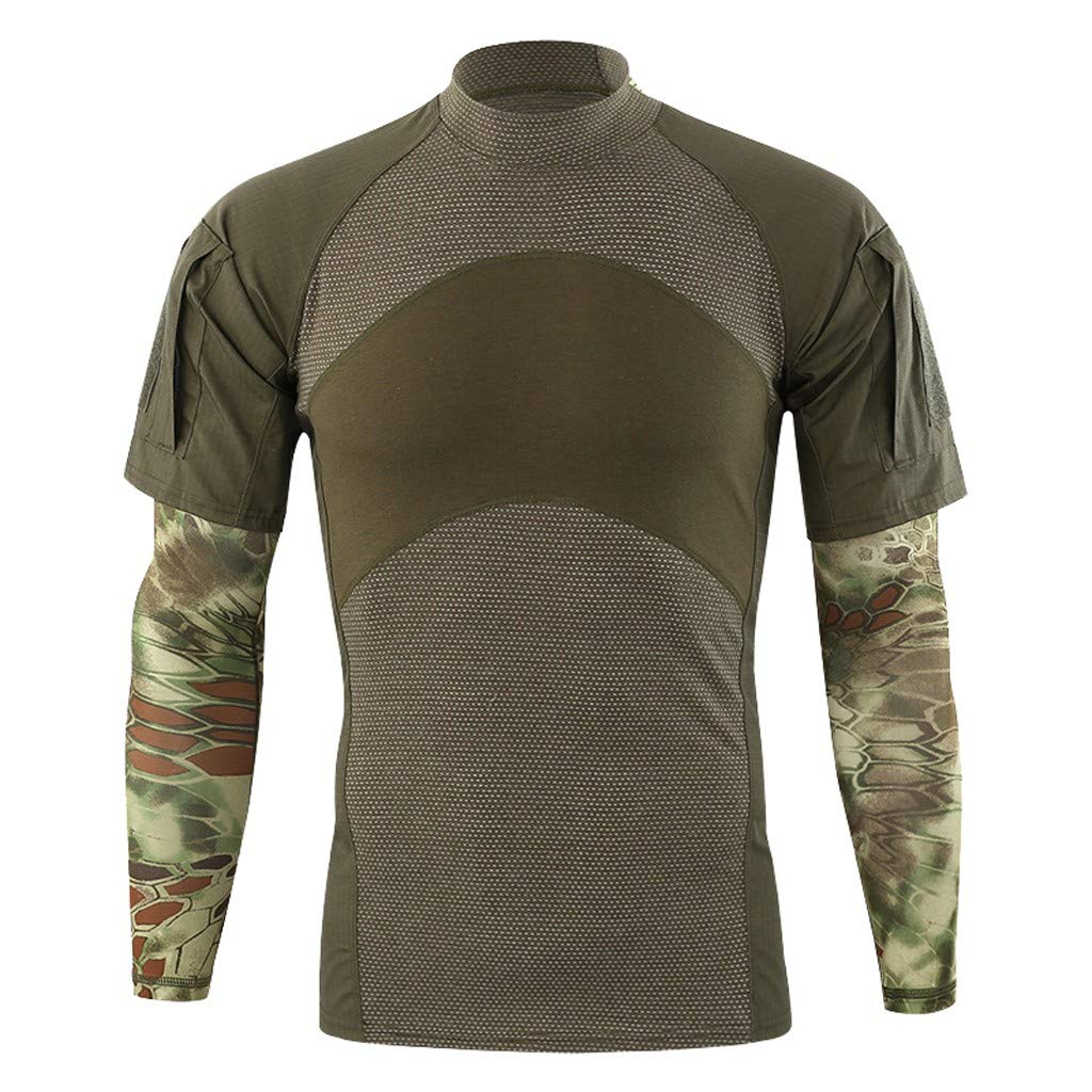 Mens Spring Patchwork Short Sleeve With Arm Cover Sleeves T-Shirt Top Blouse