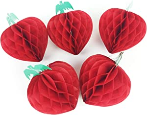 5PCS Paper Strawberry Honeycombs Balls Fruit Party Birthday Baby Shower Summer Party Supplies 5''