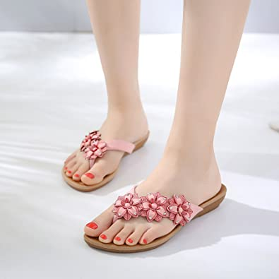 6d4e7b20fee9 JACKY LUYI Women Slides Sandals Summer Flowers Flip Flops Light Weight  Rhinestone Beach Slippers Slipper Shoes Pink 10  Amazon.co.uk  Shoes   Bags