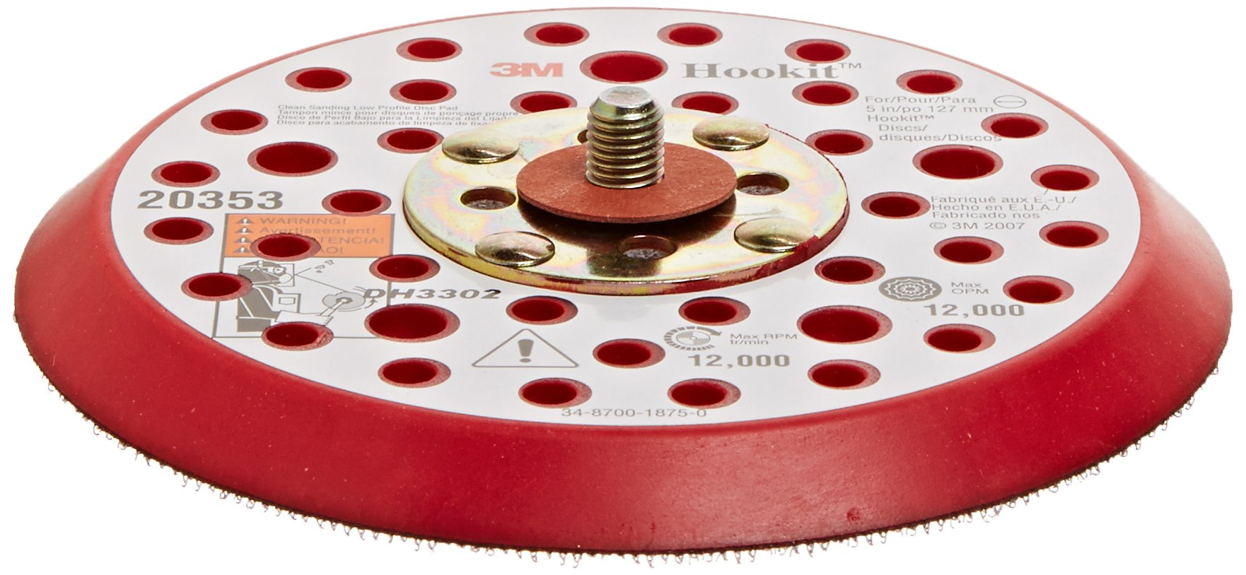 3M Hookit Clean Sanding Low Profile Disc Pad 20353, Hook and Loop Attachment, 5'' Diameter x 3/8'' Thick, 5/16''-24 External Thread, 44 Holes, Red