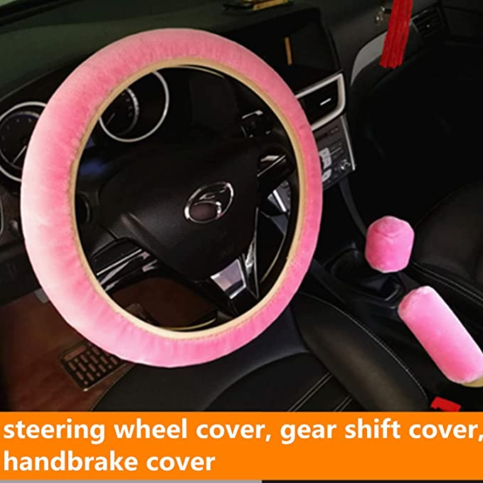 3 Pieces Fluffy Plush Steering Wheel Cover Set Handbrake Cover Gear Shift Knob Cover Winter Warm Soft Furry Vehicle Car Steering Wheel Cover Protector Stretch On Universal Fit 37-39cm