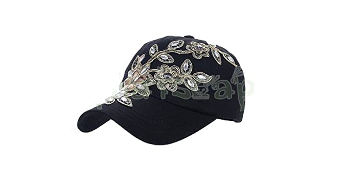 Amazon.com  ylovego New Spring New Shiny Fashion Women Diamond Flower  Baseball Cap Lady Rhinestone Jean Hats Summer Style Sunhats YY6020 Black  Diamond Hats  ... e20ce0555