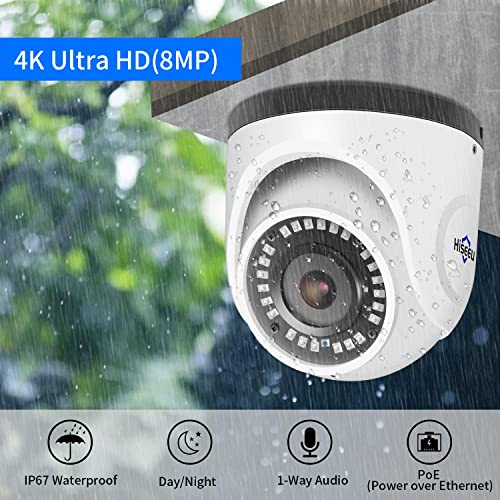 Hiseeu 4K PoE Security Camera System, 8CH PoE Surveillance NVR Kit with 3TB HDD, 4Pcs 4K 8MP Indoor Outdoor Dome Camera Built-in 1-Way Audio, Clear Night Night Vision No Monthly Fee, 30Days Recording