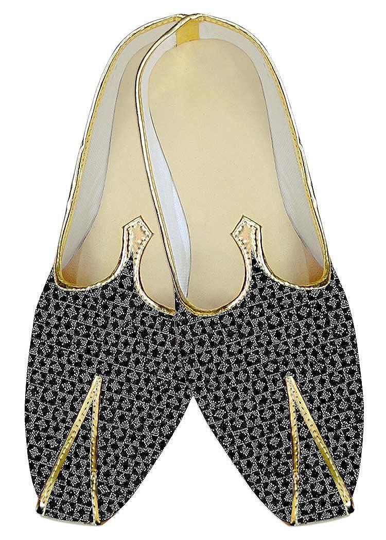 INMONARCH Negro y Plata Hombres Boda Zapatos Patrón de recuadro MJ14093 37.5 EU