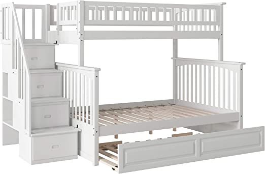 Atlantic Furniture Columbia Staircase Bunk Raised Panel Trundle Bed Twin Full White