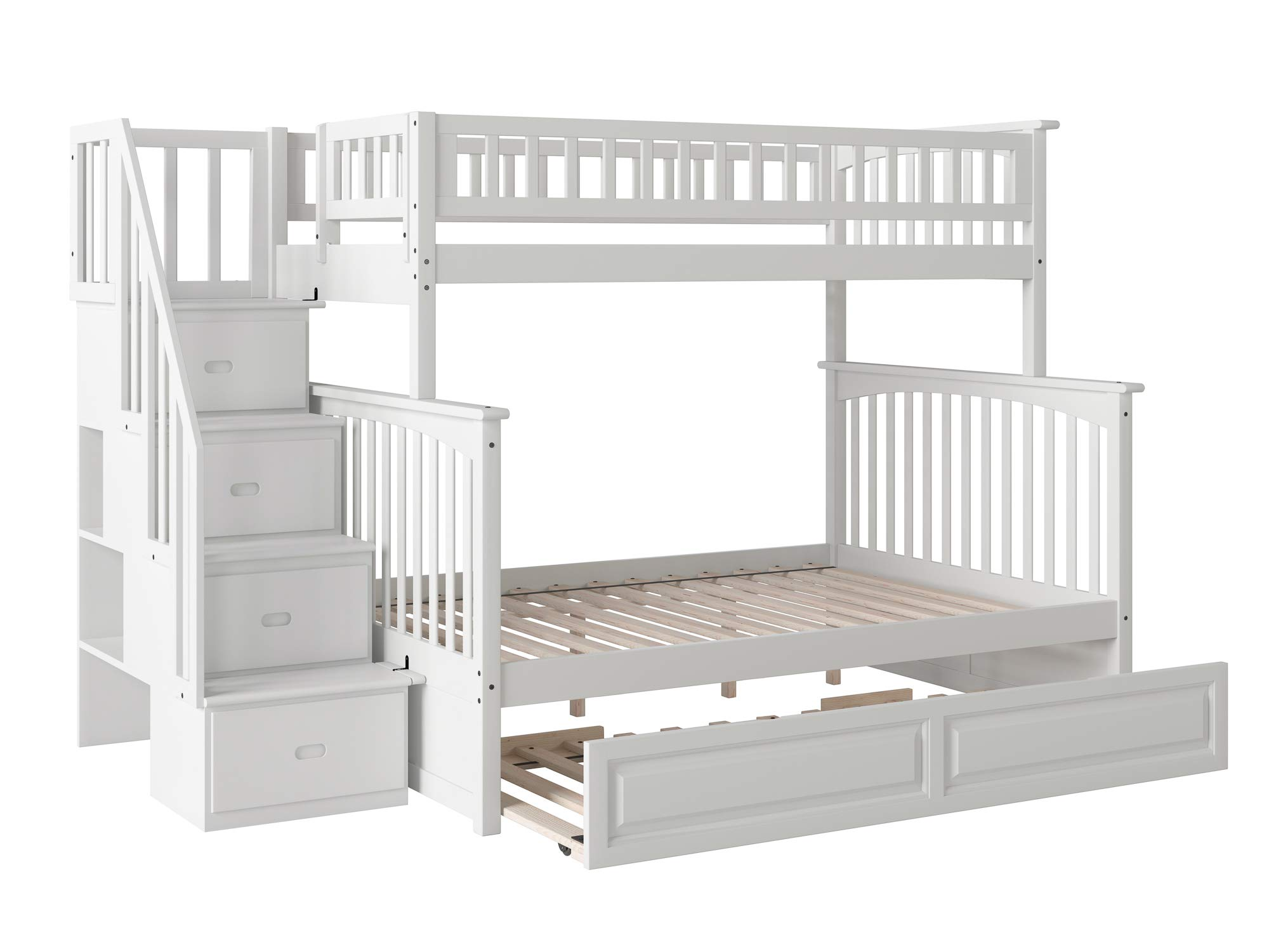 Atlantic Furniture Columbia Staircase Bunk Bed with Raised Panel Trundle Bed, Twin/Full, White by Atlantic Furniture