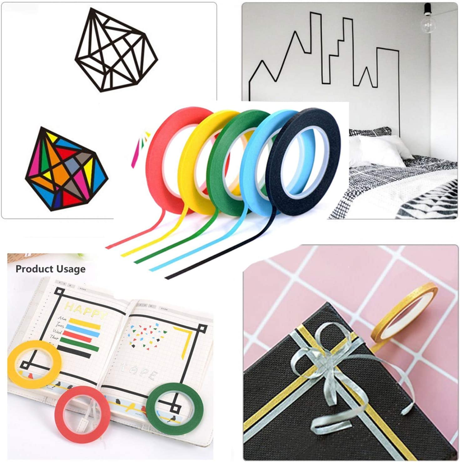 3mm Art Marking Tape Line Gridding Graphic Tape 18 Rolls Whiteboard Graphic Chart Tape