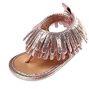 Voberry Toddler Baby Girls Tassel Sandals Soft Soled Anti-slip Fringe Footwear Shoes (0-6 Month, Pink 2)