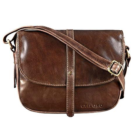 1fc554a057a80 STILORD  Clara  Kleine Umhängetasche Frauen Leder Vintage Handtasche zum  Ausgehen Klassische Abendtasche Partytasche Freizeittasche