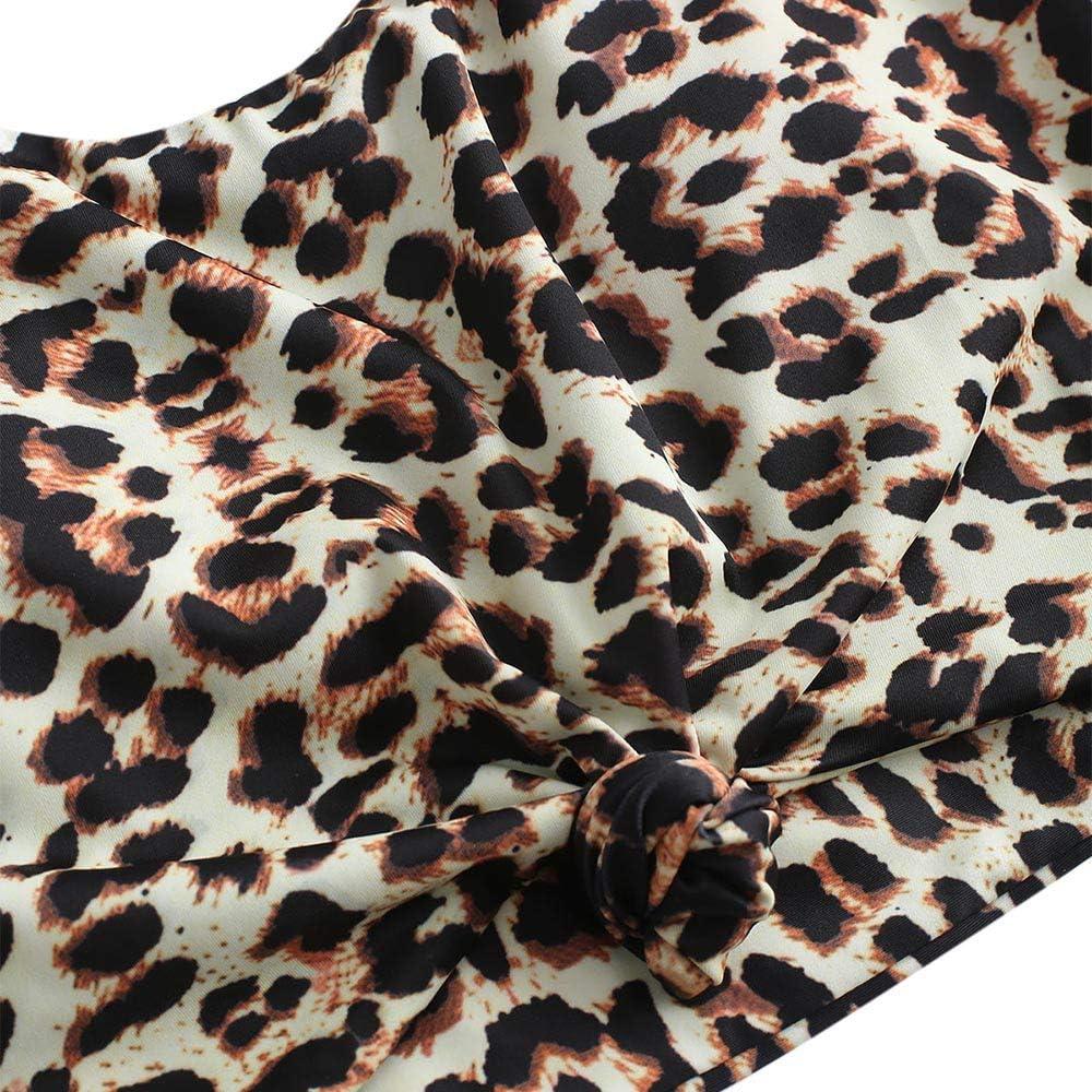 einfarbiger gepolsterter Badeanzug mit Schultertr/äger /& Badehose mit Tropisches Blattmuster f/ür Damen ZAFUL Zweiteiliger verknotet Tankini Beachwear Set