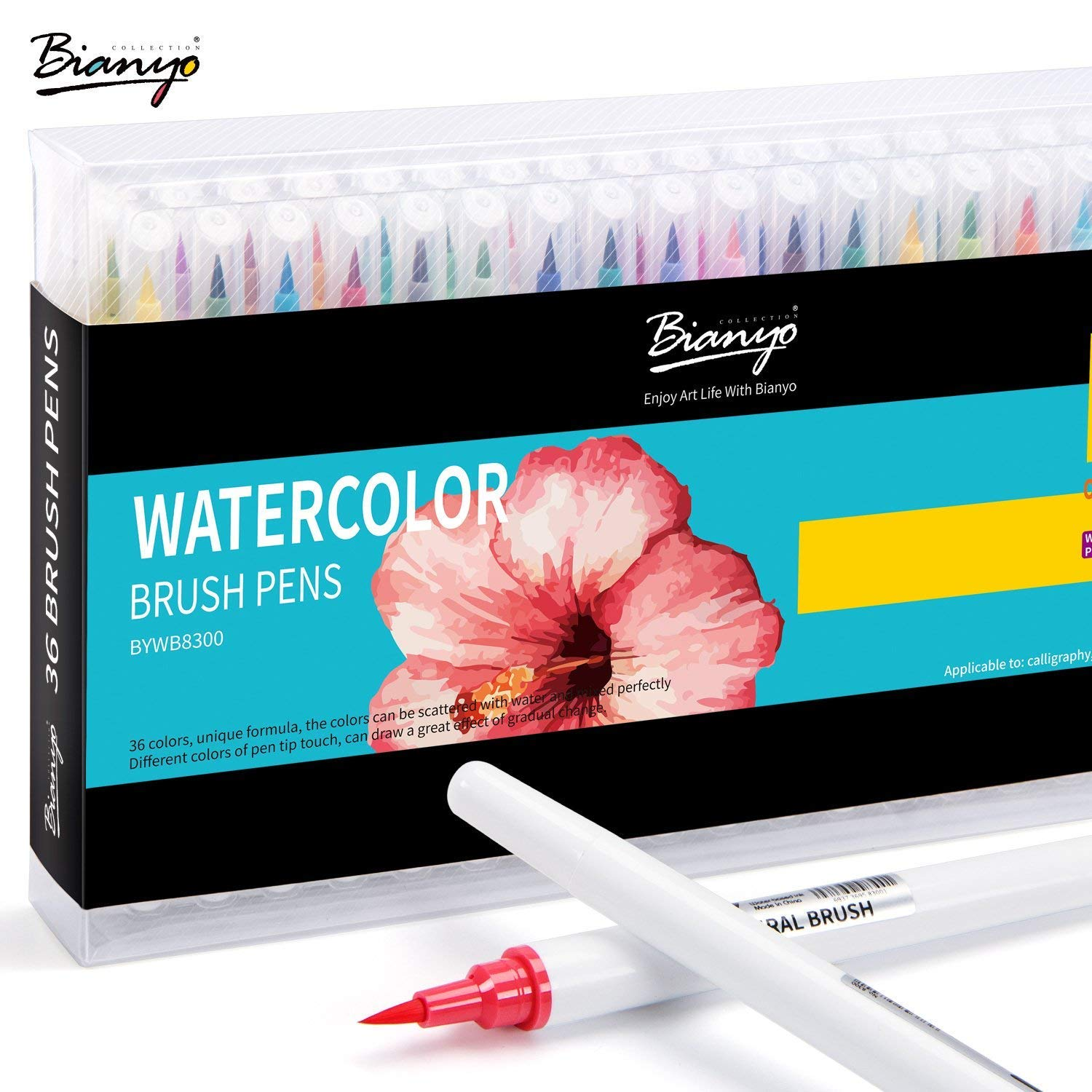 Bianyo Premium Watercolor Brush Pens Set-Soft Flexible Tip, Durable,Create Watercolor Effect - Best for Painting, Drawing, Coloring & More, 100% Nontoxic, Multiple Colors (36 Color)