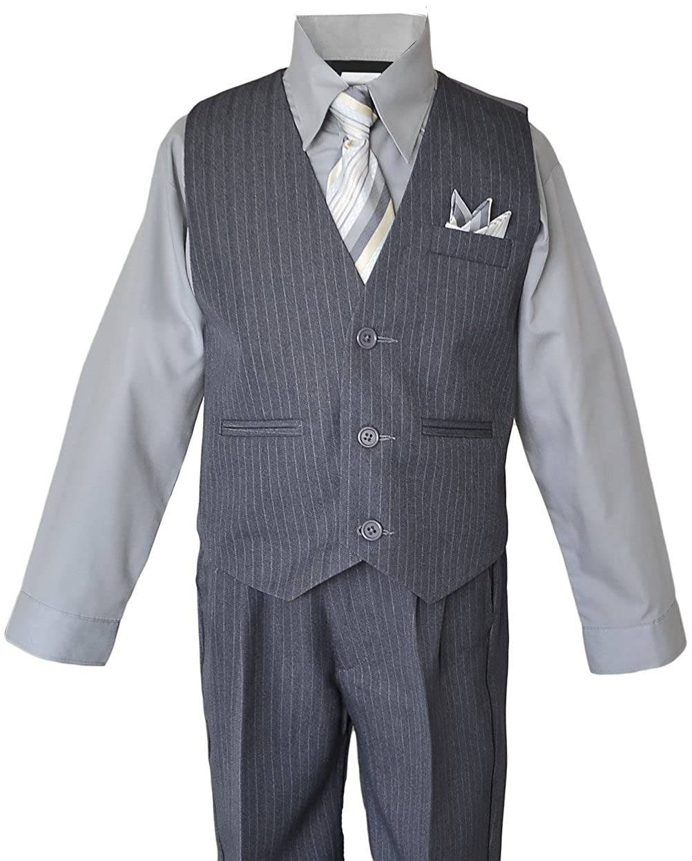 Black n Bianco Boys Grey Pinstripe Vest Suits Matching Tie