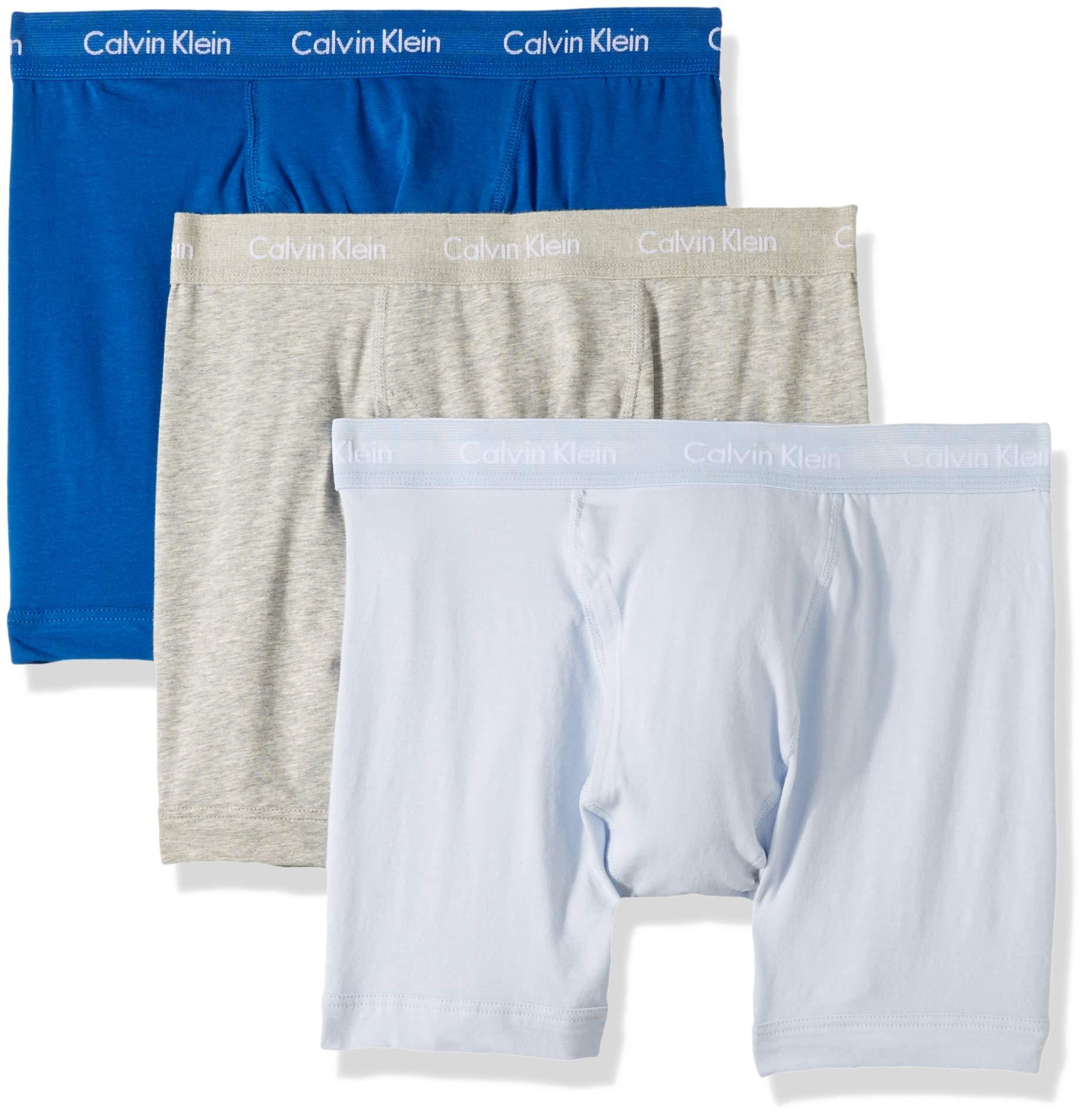 Calvin Klein Men's Cotton Stretch Multipack Boxer Briefs, Grey Heather/Wisdom/Neptune, XL by Calvin Klein