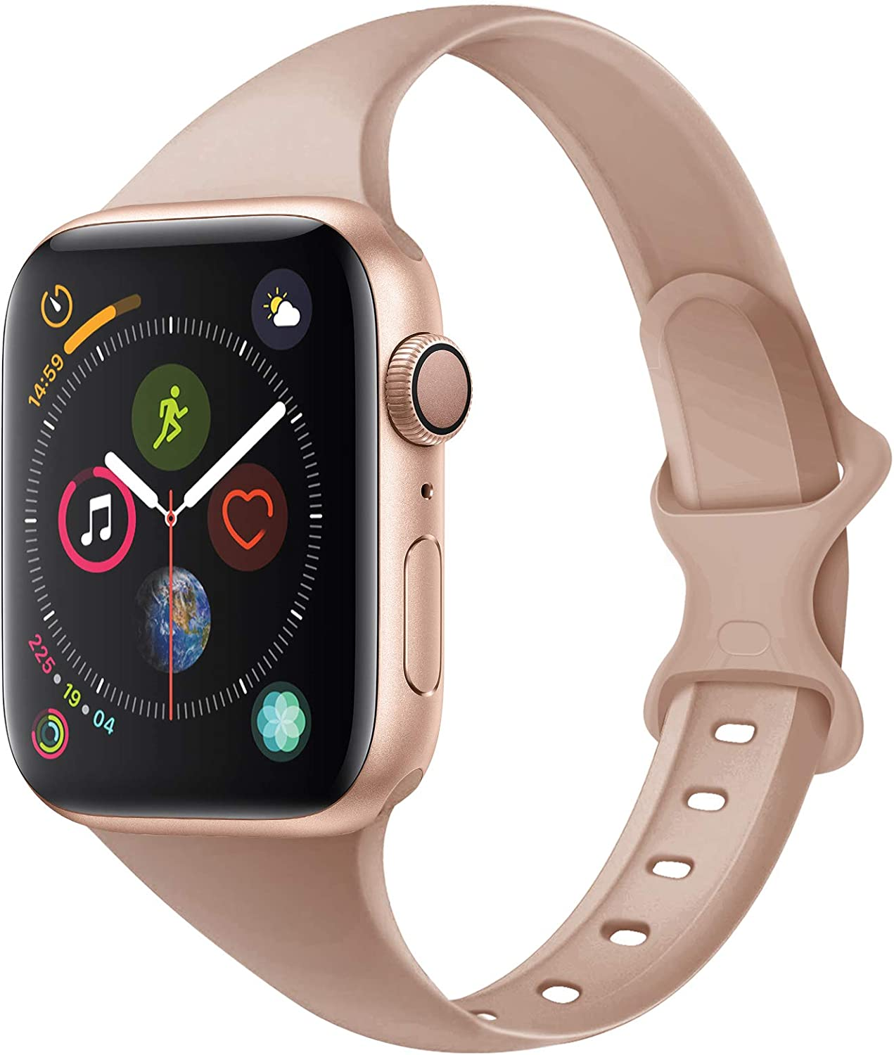 Acrbiutu Bands Compatible with Apple Watch 38mm 40mm 42mm 44mm, Slim Thin Narrow Replacement Silicone Sport Accessory Strap Wristband Compatible for iWatch SE Series 1/2/3/4/5/6 Women Men, C,Milk Tea