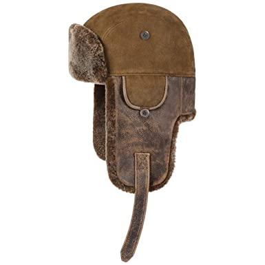0cce8b1f94581 Stetson Lamb Nappa Leather Aviator Hat Trapper chapka (XXL (62-63 cm) -  Brown)  Amazon.co.uk  Clothing