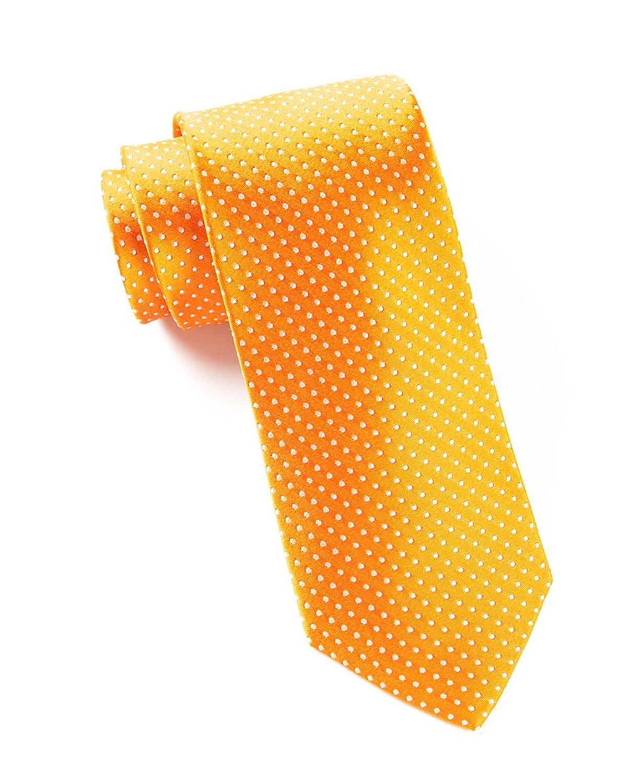 Hagora Men's Hot Sun Yellow Mini White Dots Summer Festive Woven Silk Tie