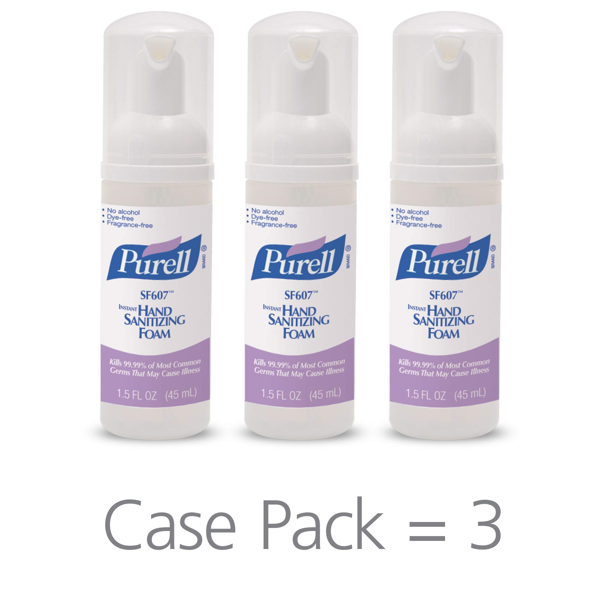 PURELL SF607 Hand Sanitizer Foam, Alcohol Free Formulation, 45 mL Portable, Travel Sized Pump Bottle (Pack of 3) - 5684-08-EC by Purell