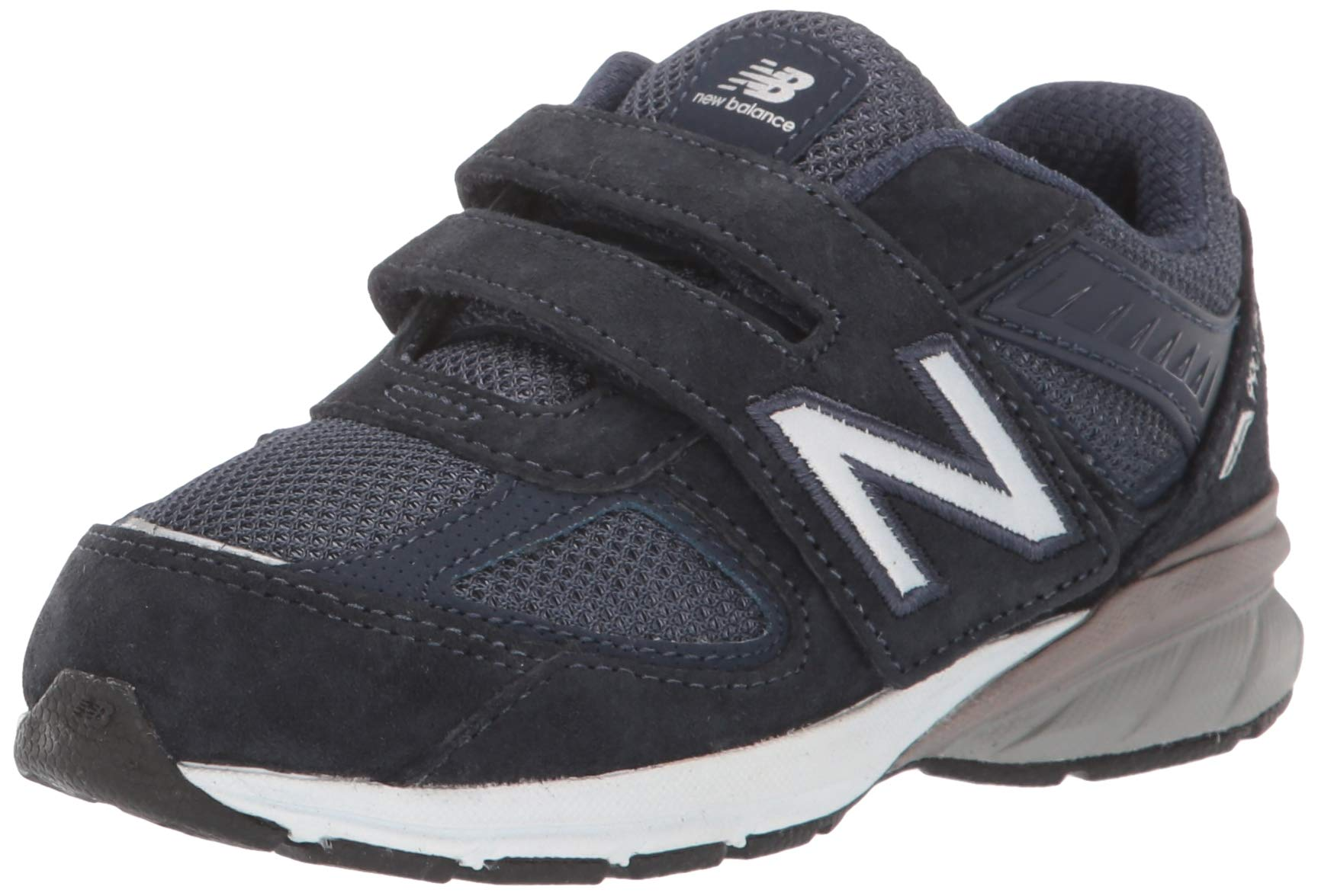 New Balance Boys' 990v5 Hook and Loop Running Shoe, Navy, 1.5 XW US Little Kid