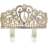 PIXNOR Wedding Bridal Tiara with Comb Rhinestone Crystal Bridal Wedding Tiara Headband (Gold)