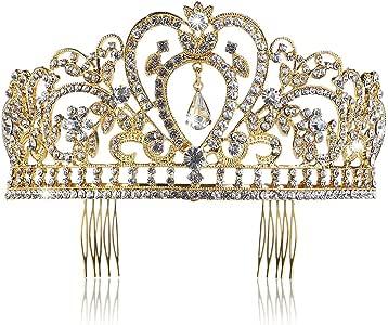 PIXNOR Wedding Bridal Tiara with Comb Rhinestone Crystal Bridal Wedding Tiara Headband (Gold)
