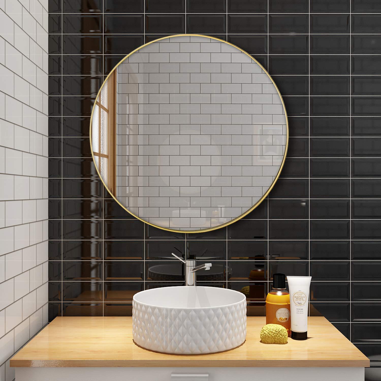 Modern Decorative Metal Framed Mirror Simmer Stone 25.6 Wall Mount Round Mirror Black