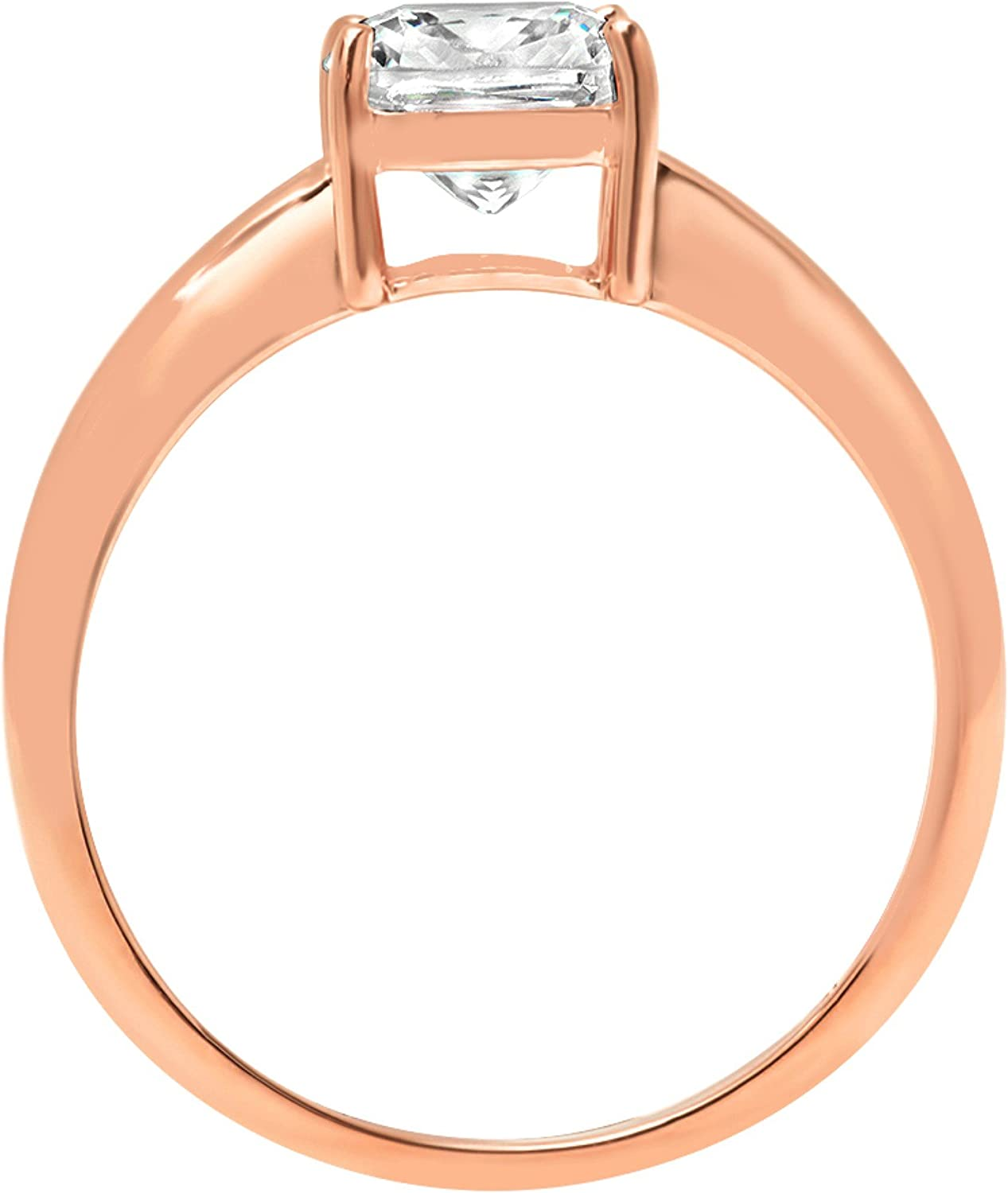 14k Rose Gold 1.47cttw Classic Cushion Classic Solitaire Moissanite Engagement Promise Ring Statement Anniversary Bridal Wedding by Clara Pucci