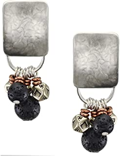 product image for Rounded Rectangle with Textured Black and Metal Beads Clip Earring