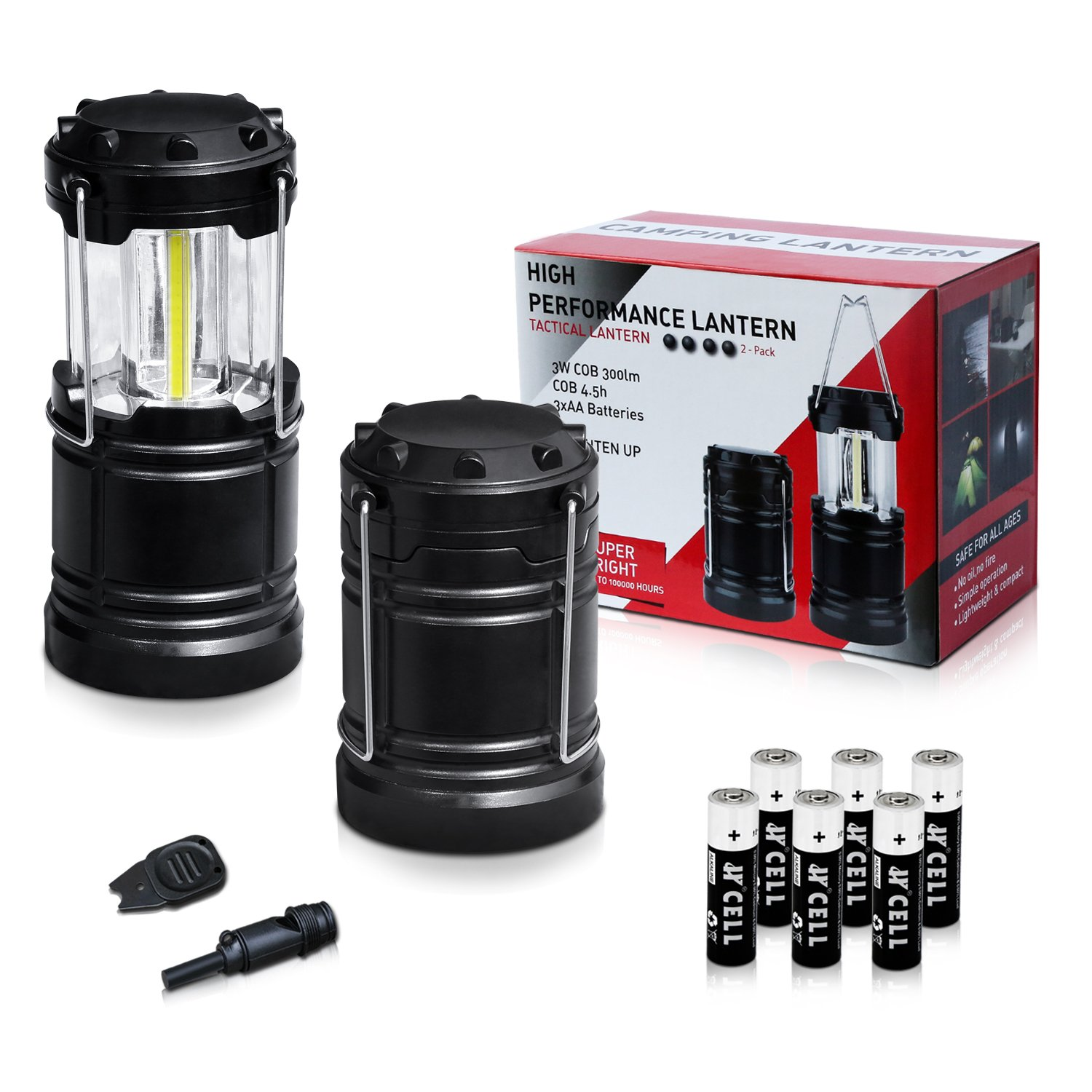 KPSTEK Portable Camping Lantern, 2 Pack LED Lanterns with 6AA Batteries, Magnetic Base, Fire Starter, Survival Whistle - Best Outdoor, Indoor, Emergency Light, Hurricane, Tent Lamp, Collapsible