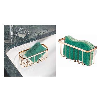 InterDesign Gia Kitchen Sink Suction Holder for Sponges, Scrubbers, Soap, Kitchen, Bathroom, 6.75  x 2.5  x 2.5 , Copper