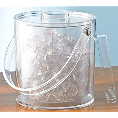 Tropix Ice Bucket With Tongs and Lid 3 Quart Clear Acrylic Bar Accessory