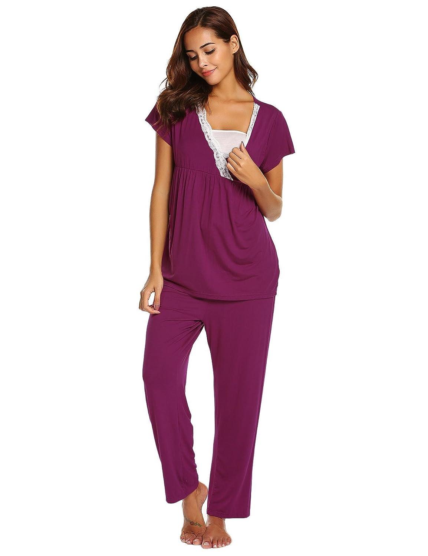 9668d610d4 Langle Women s Breastfeeding Sleepwear Comfy Nursing Nightgowns Short Sleeve  Lace Pajama Sets S-XXL