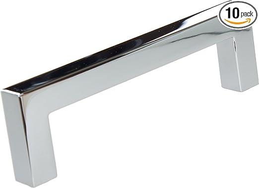 Polished Chrome Finish 5 10 Pack GlideRite Hardware 5 inch CC 21683-128-PC-10 Solid Square Slim Cabinet Bar Pulls