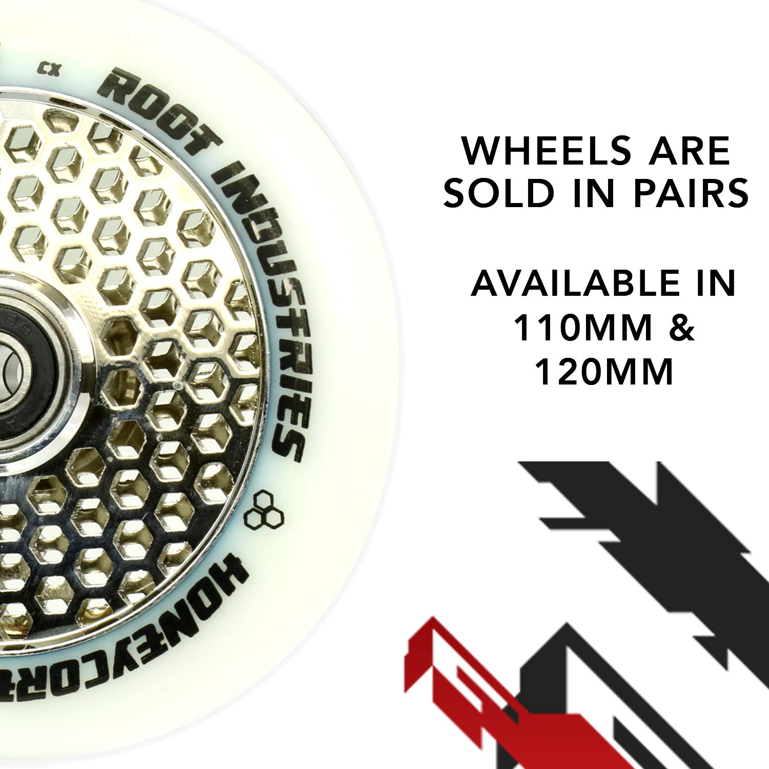 Scooter Wheels 120mm Honeycore – 120mm Scooter Wheels – Honeycomb Scooter Wheels – Pro Scooter Wheels – 24mm x 110mm – Bearings Installed – 90 Day Warranty – Scooter for Kids – Scooter Parts