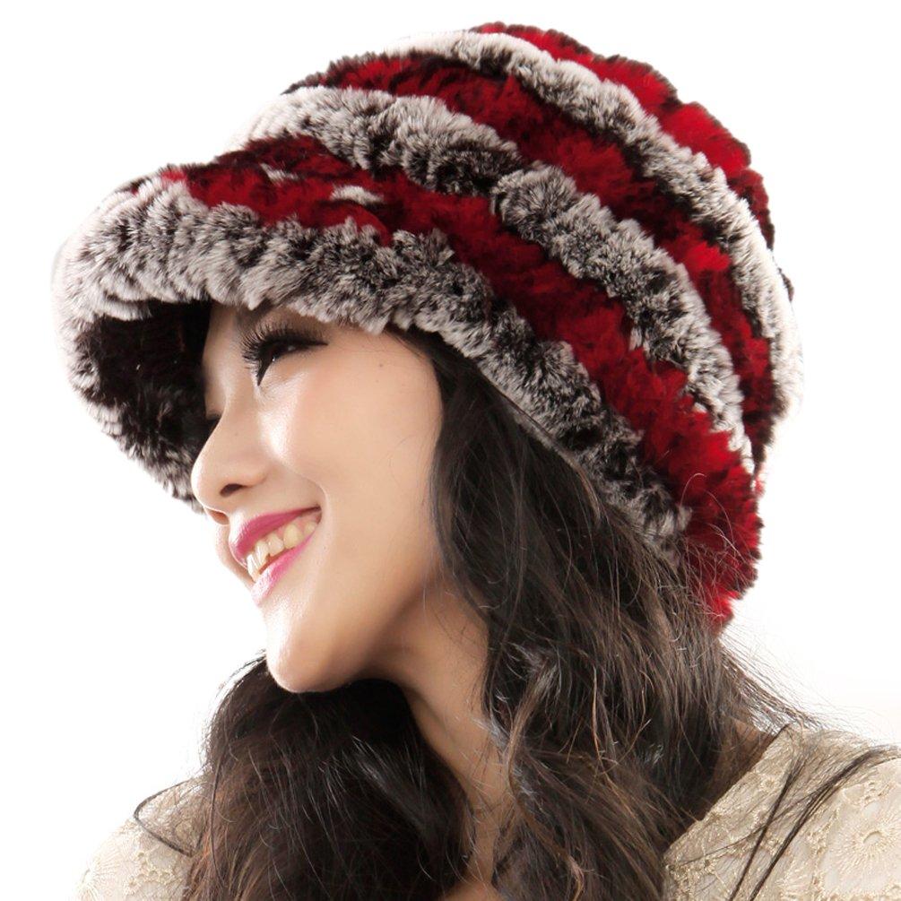 URSFUR Fashion Women's Real Rex Rabbit Fur Peaked Caps Hats Spiral width 66 CM. / Flexible Gray) HB-17-3