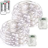 Fairy lights, FYHD 2-Pack Battery Operated Waterproof Cool White 50 LED Fairy String Lights, 16.4feet Silver Wire Light with Remote Control for Party Weeding Garden Home Decoration