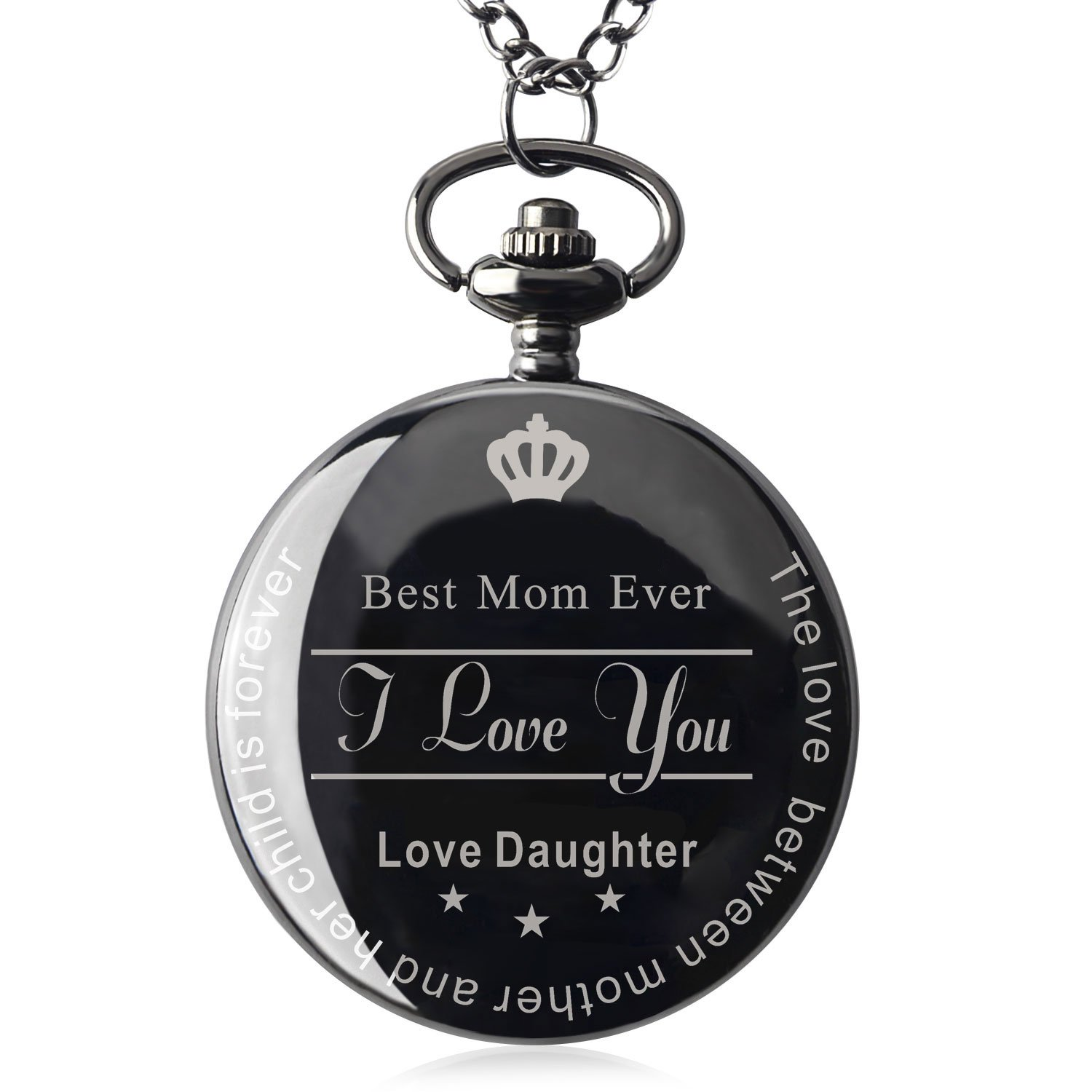 Qise Pocket Watch To Best Mom Ever Necklace Chain From Daughter to Mother's Day Gifts for Women Surprise Gift Ideas for Mother with Gift Box (Love Daughter)