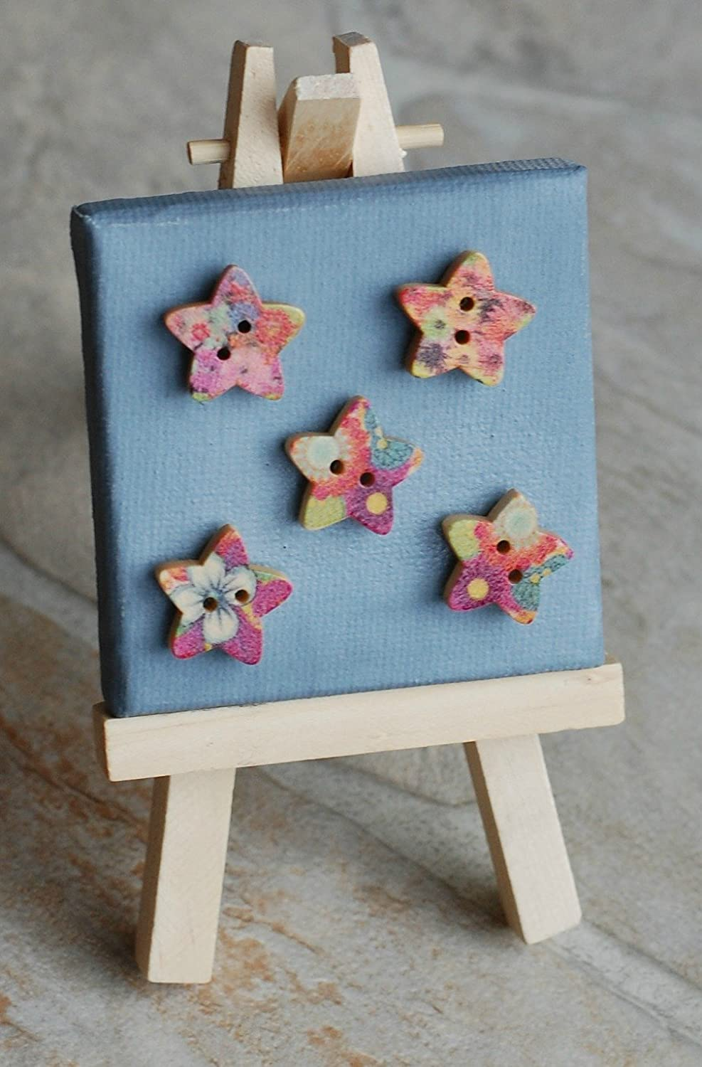 Star Shaped Wooden Button Magnet - Set of 8